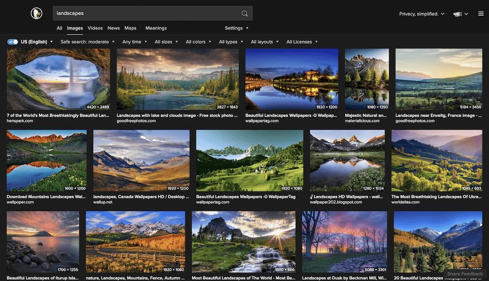 A SERP page for landscape images.