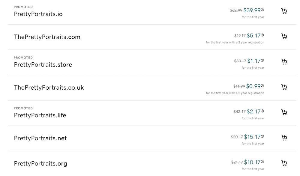 Choosing a domain in GoDaddy.
