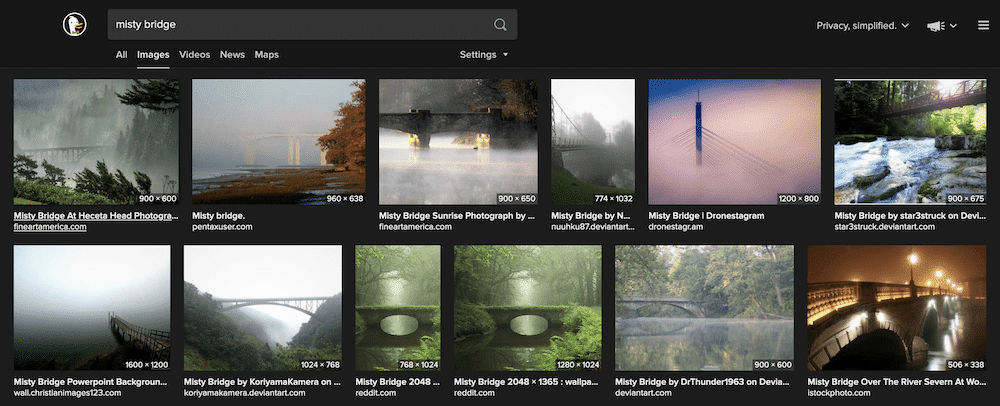 "A SERP for ""misty bridge""."