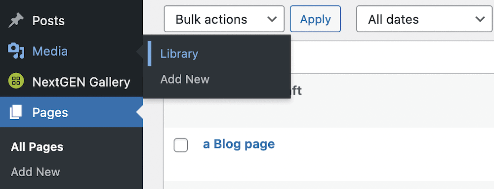 The Library link within WordPress.