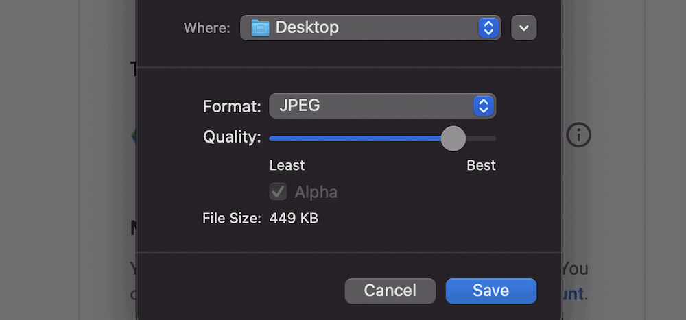 The macOS Preview app's Quality slider.