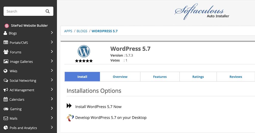 The Softaculous WordPress installer.