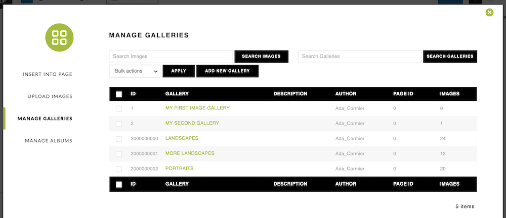 The Manage Galleries page.
