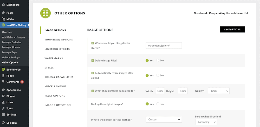 The Other Options page.