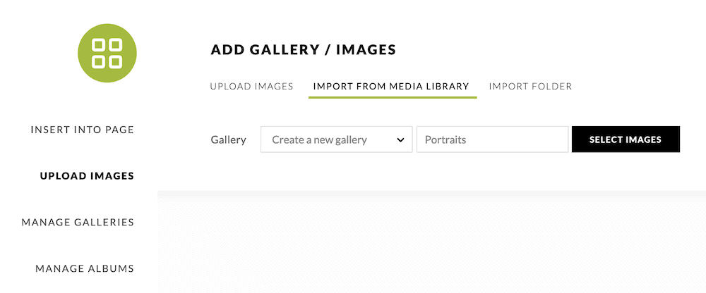 The Upload Images dialog.